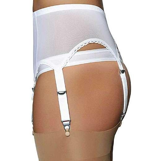Sheer white power mesh suspender belt with 6 straps