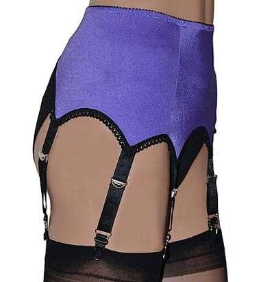 6 strap suspender belt in purple with black trims