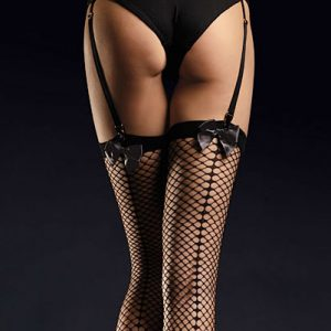 Fishnet stockings with seams and satin bow