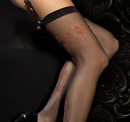 Ballerina 290 black stockings with red seams