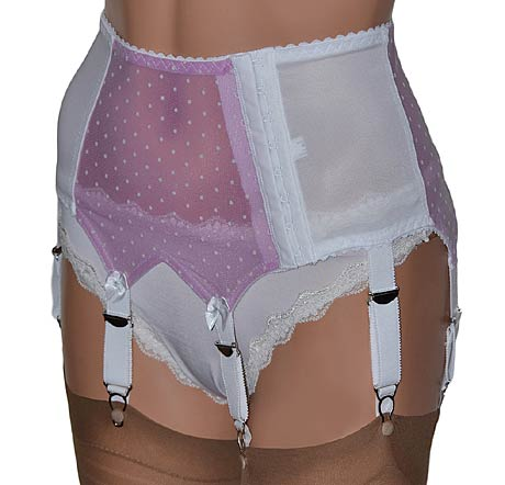 white 6 strap suspender belt with pink polka dot panels