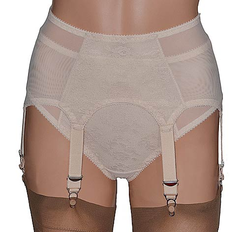 pull on suspender belt with matching knickers in beige