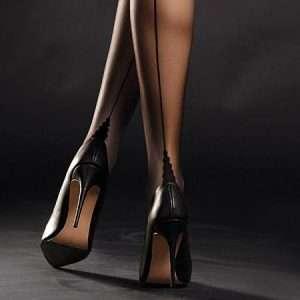 FiORE Diva Sheer Stockings 20 Denier Back Seam Point Heel and polka dot upper