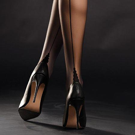 black point heel seamed stockings, Fiore Diva