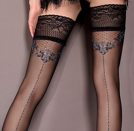 black hold-up stockings with blue pattern, Ballerina 415