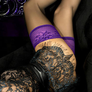 black stockings with purple lace tops, ballerina 501 / 490