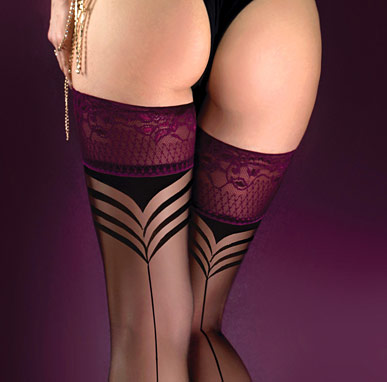 sheer deep red lace top stockings with seams, Ballerina 527